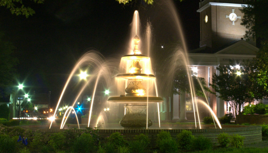 Long exposure of Georgetown fountain at night